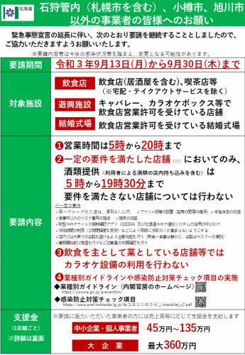 緊急事態宣言に伴う時短要請等について【北海道】【9月30日まで】