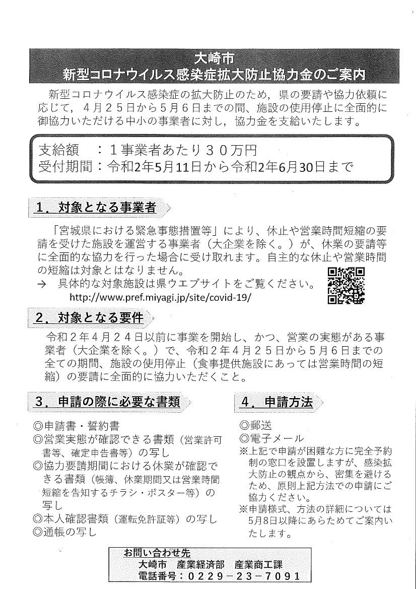 申請 方法 協力 金 休業