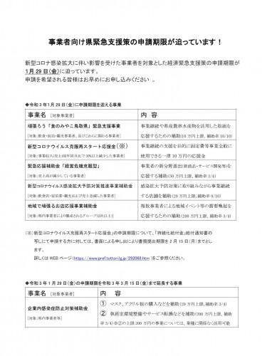 事業者向け県緊急支援策の申請期限が迫っています!