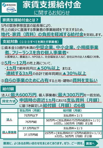 家賃支援給付金に関するお知らせ【最新】