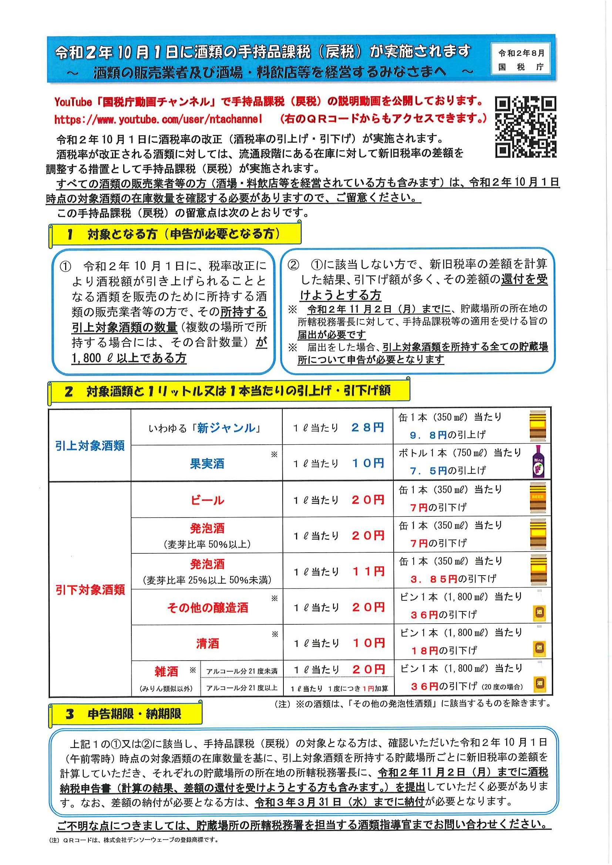 令和2年10月1日に酒類の手持品課税(戻税)が実施されます