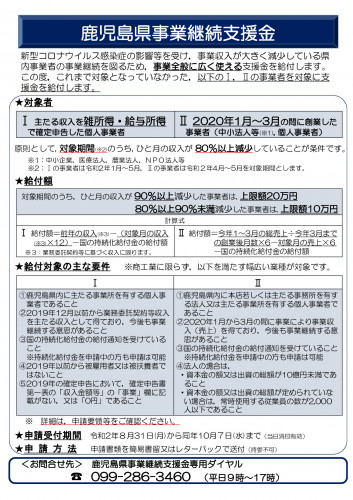 鹿児島県事業継続支援金のお知らせ